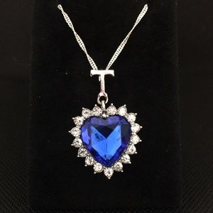 """""""Heart of The Sea"""" Blue Crystal Pendant Necklace"""